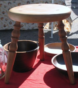 Here's one of the milking stools shown at the Wake Forest Farmer's Market