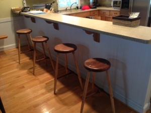 Walnut seats and stretchers with hickory legs and wedges.