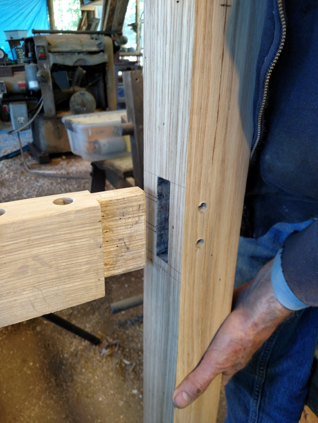 Fitting the mortise and tenon